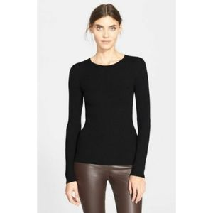 THEORY wool black ribbed pullover sweater